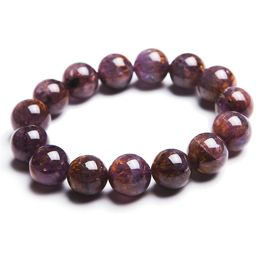 14mm Natural Purple Cacoxenite Gems Gold Hair Rutilated Quartz Crystal Clear Transparent Round Bead Women Mens Stretch Bracelet