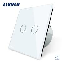 Free Shipping Livolo EU Standard Touch Switch 2 Gang 2 Way Control White Crystal Glass Panel