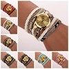 2016 Newest good quality fashion women watch luxury brand Women Leopard Band Bracelet Quartz Braided Winding Wrap Wrist Watch