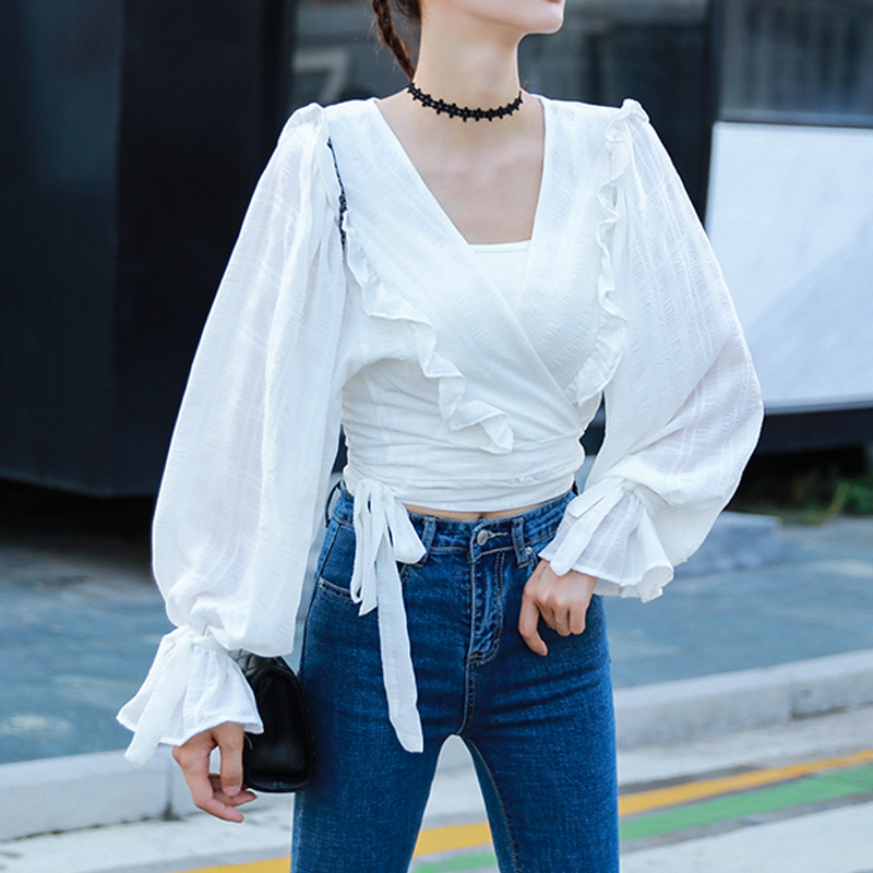 De Tops Femme Mode Streetwear Ruches V Pink Chemisier Femmes Chemise Manches Casual white Printemps Shirt Blouse 2019 Bandage Col Bouffée Blanc fq6xn47