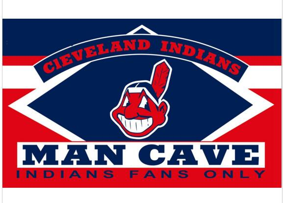 3ftx5ft Polyester Material Cleveland Indians Man Cave flag With Metal Grommets