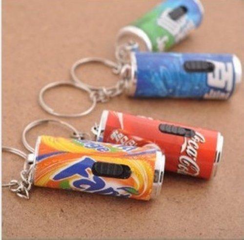 Simulation Pop-Top  Drink Bottle Mini  Light LED Flashlight White Torch Key Chains Ring Keyrings Free shipping