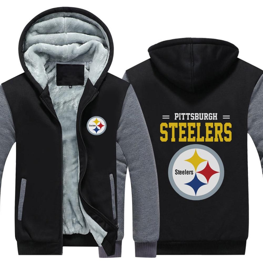 timeless design 28a1f 9a386 USA size Men Women Pittsburgh Steelers Zipper Jacket ...