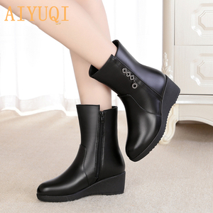 Image 4 - AIYUQI  Female Mother Boots Non slip Wedge 2020 New Genuine Leather Female Snow Boots Thick Wool Warm Female Winter Boots Shoes