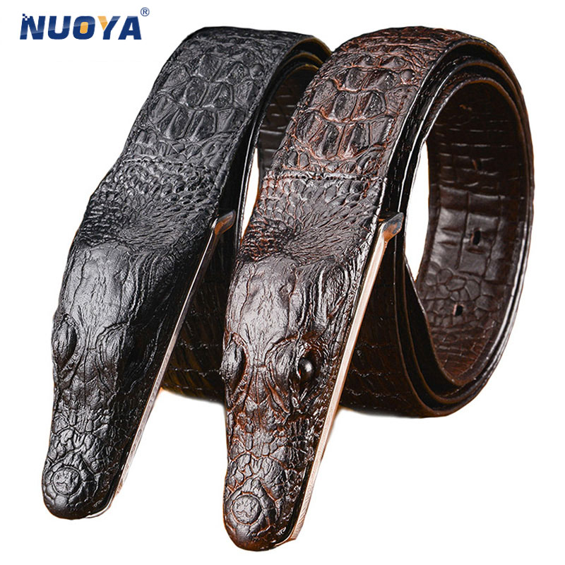 Men Crocodile Head Belt Cowhide Genuine Leather Business Casual Luxury Snake Pattern Belts Alligator Head Gift for Men
