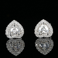 Lady Bridal Wedding Earrings VS H Heart Natural Diamonds Solid 14k White Gold Engagement Anniversary Classic