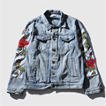 OFF WHITE Stitched Men Denim Jackets Blue Black Embroiedry Floral Man Coat Fashion Fray Hombre Brand Clothing Street Jacket