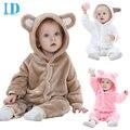 Idgirl primavera mamelucos lindos del bebé caliente de manga larga ropa de bebé de otoño de coral polar bebé niñas niños ropa de la historieta mono jy018