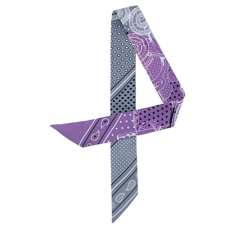 POBING New Design Geometric Print Silk   Scarf   Women Head   Scarf   Brand Small Tie Handle Bag Ribbon Long   Scarves     Wraps   100*5CM
