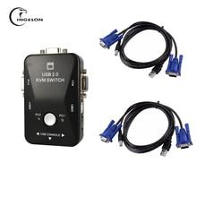 USB 2.0 KVM Switch High Quality 2 Port usb Switcher 1920*1440 VGA SVGA Switch Splitter Box for Computer Sharing Monitor Keyboard