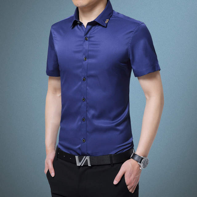 9f79d999d40 placeholder Mens plus size Slim fit shirts 2019 Summer Pure silk Thin short  sleeves Casual dress shirts