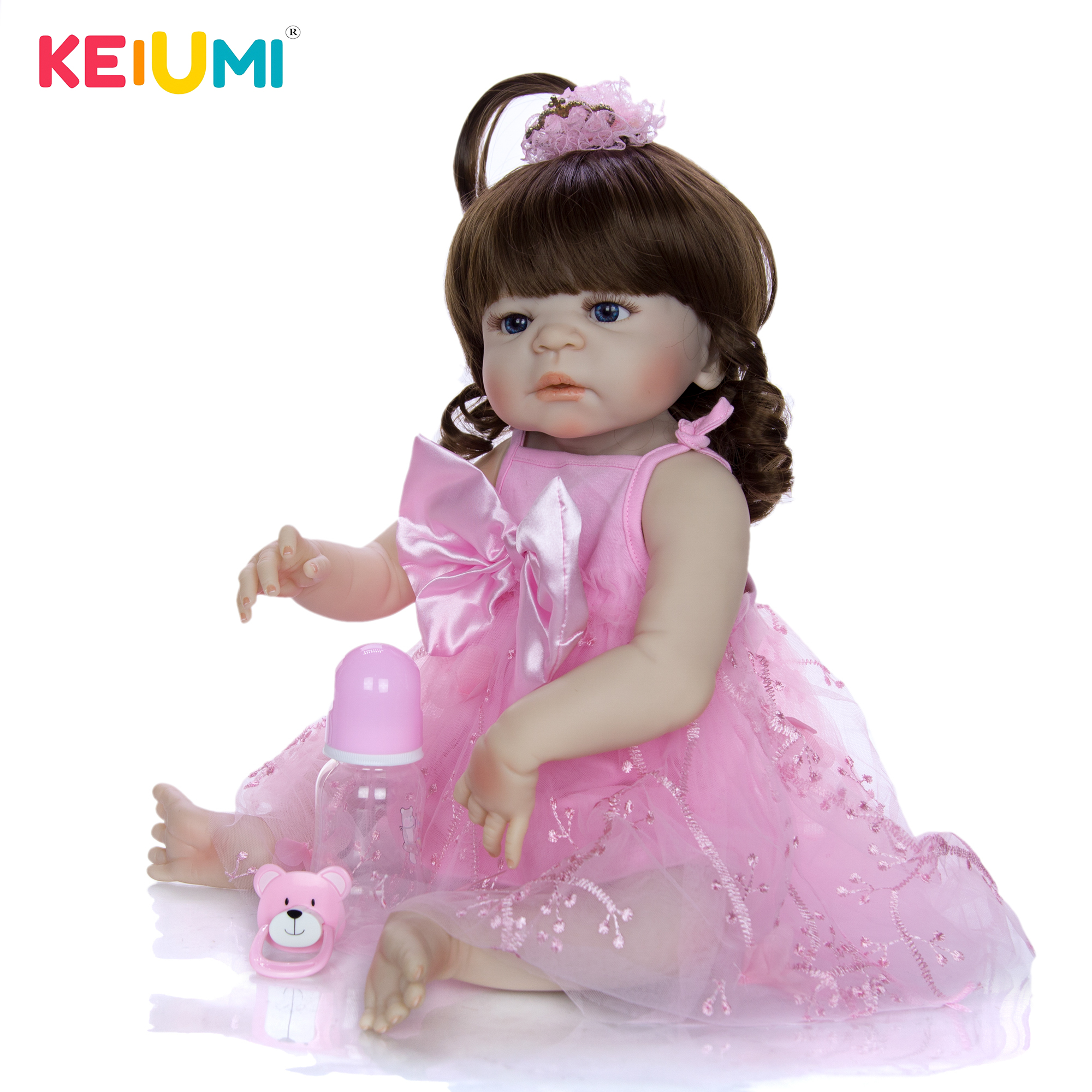 57 cm Reborn Dolls Full Silicone Vinyl 23 Girl Realistic Reborn Babies Toys For Christmas Gifts