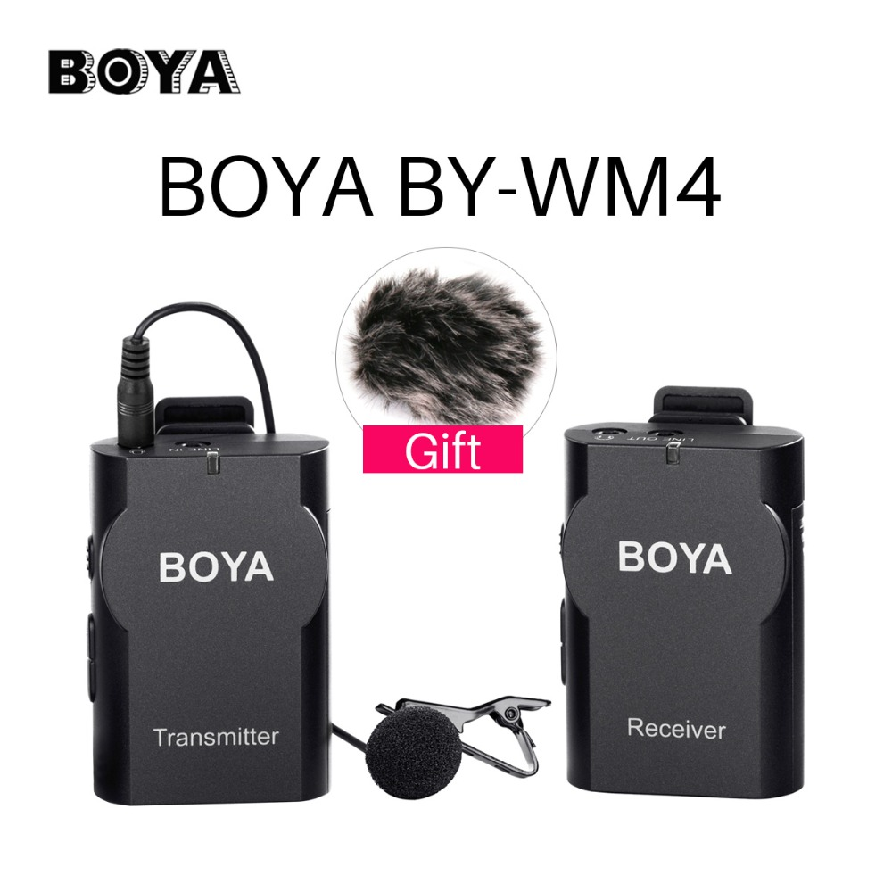 BOYA BY-WM4 Wireless Lavalier Lapel Microphone System Recording Interview Audio microfone for iPhone Camcorder Canon Nikon DSLR