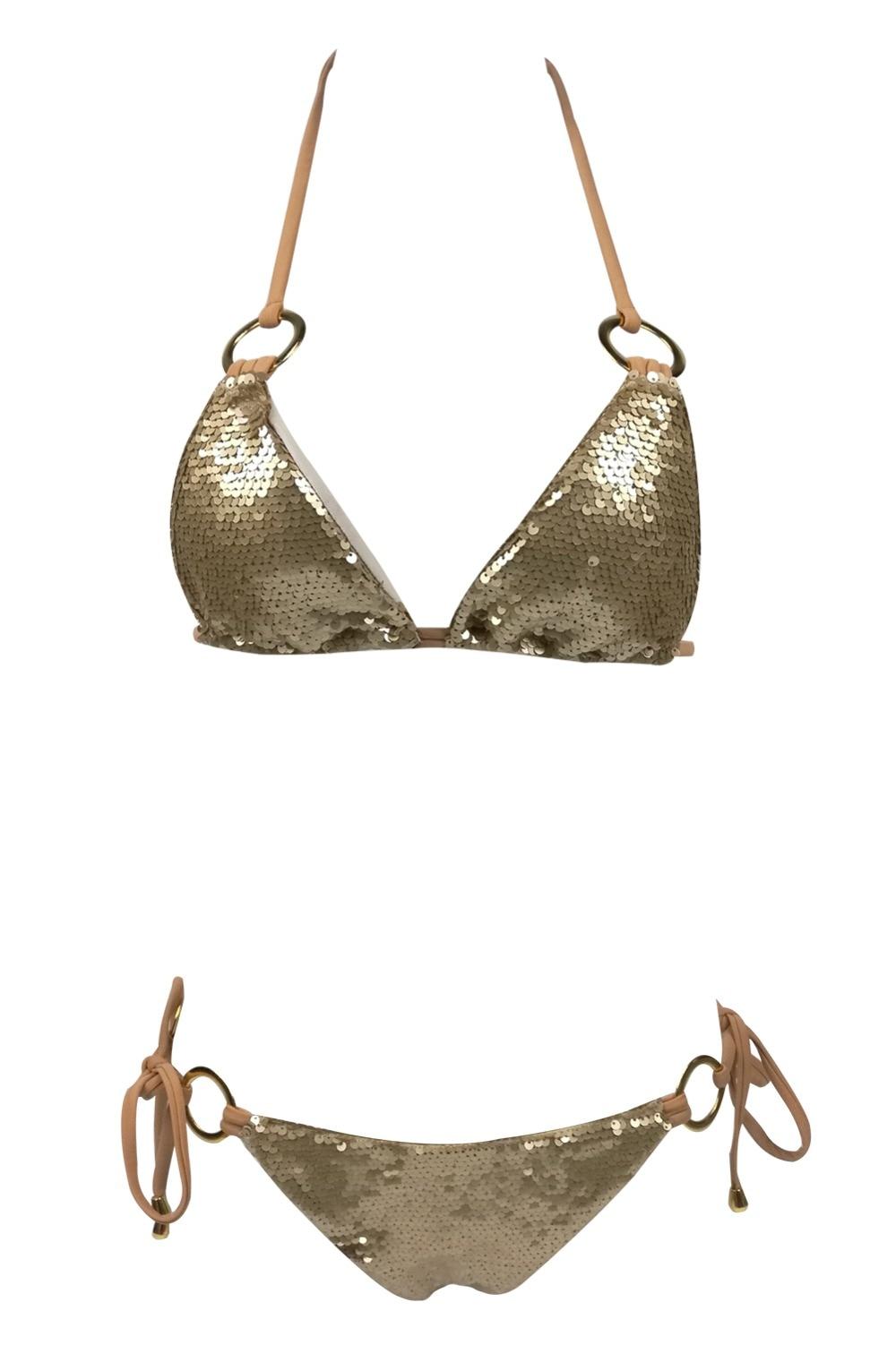 HTB1mBSQboLrK1Rjy1zbq6AenFXat 2019 Hot Sell Bikini Set Women Sexy Low Waist Bathing Suit Simple Sequins Beach Brazilian Swimsuit Halter Bandage Swimwear
