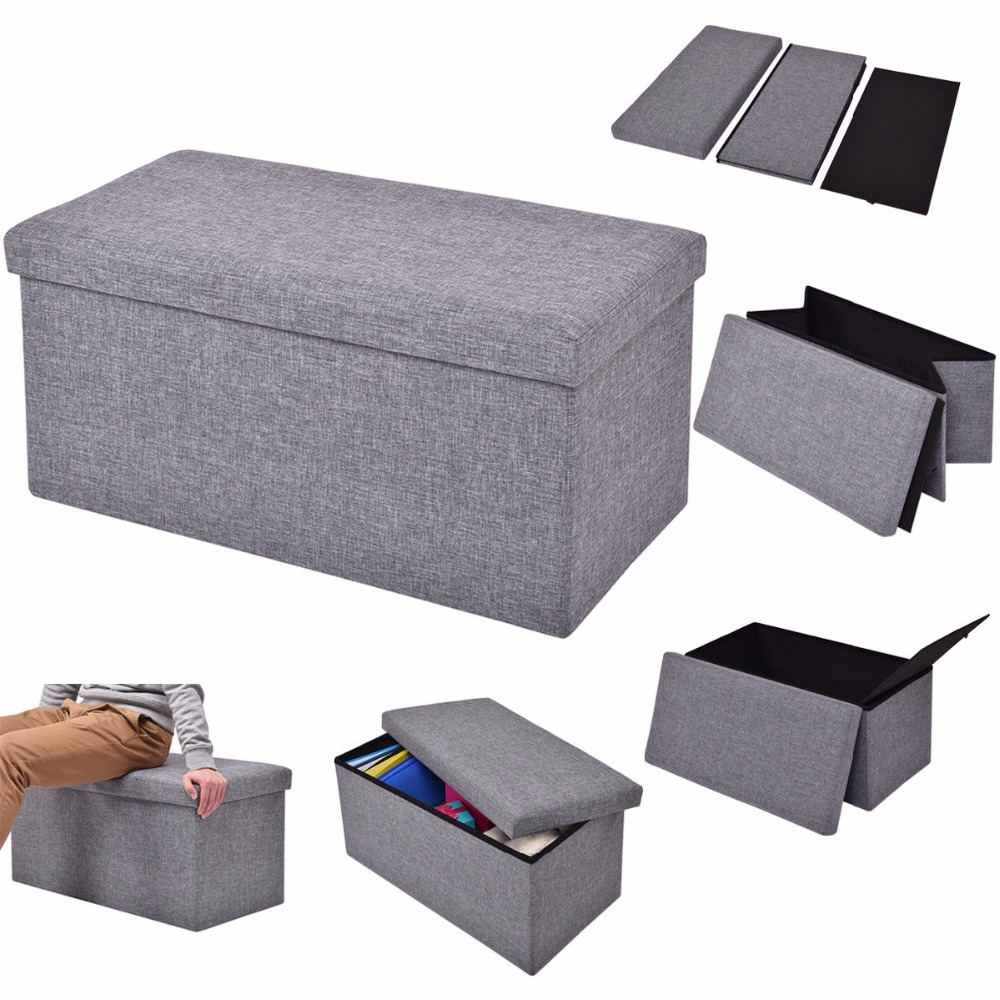 Giantex Folding Rect Ottoman Bench Storage Stool Box Footrest Furniture Home Decor HW54448