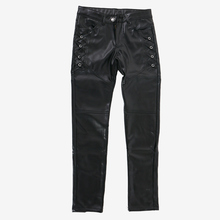 Stitching Faux Leather Skinny Pants
