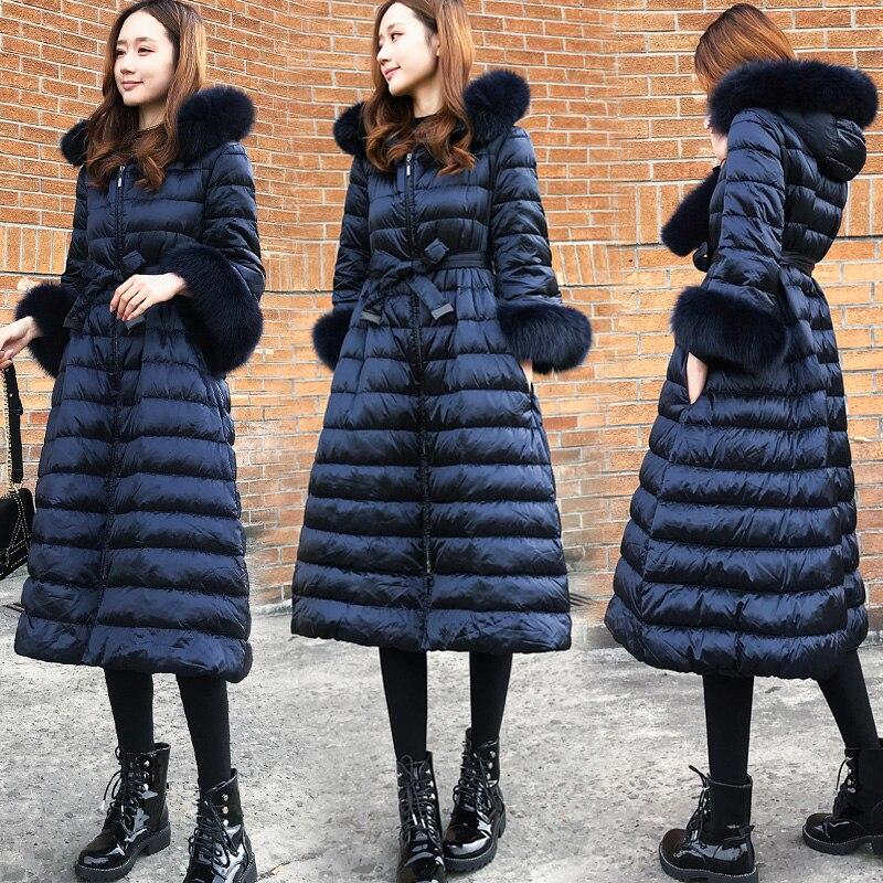 Parkas Noir Long Vestes Mince De Chaud Down Vêtements xxl Survêtement marine Européenne E07 Veste Femmes D'hiver Capuche Épais Bleu Manteau Xs Mode À odxBeC