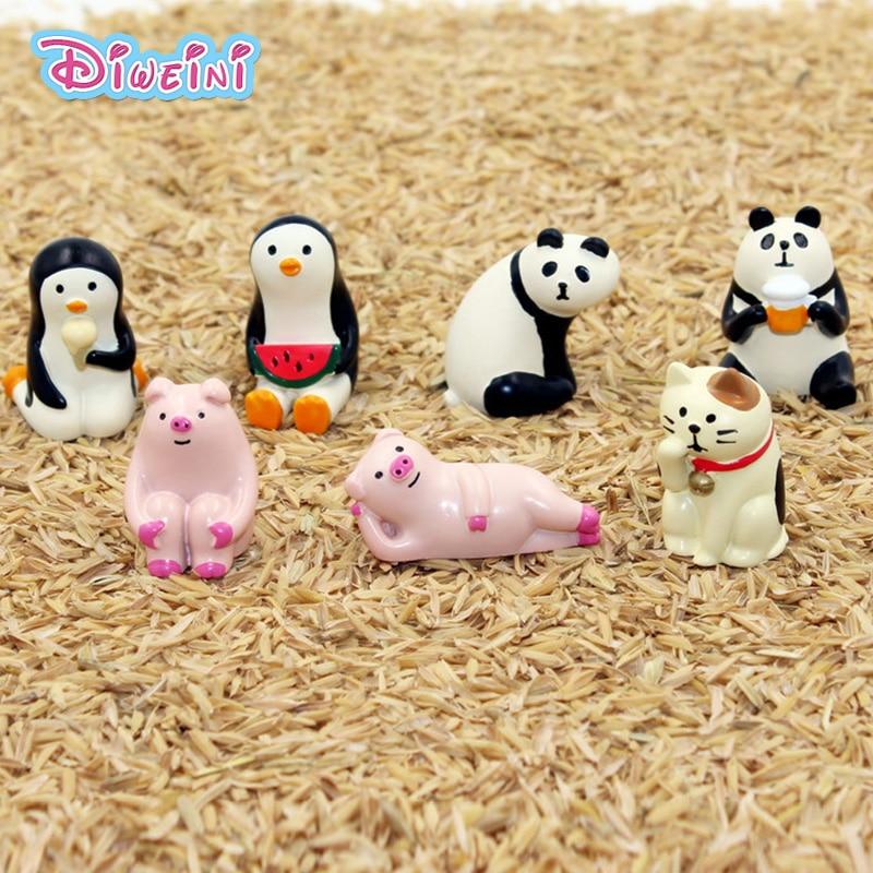Decole Series Pig Cat Panda Bear Penguin Cat Cat Model Miniature Figurine Home Garden Action Figures Decoration Girl Toy Gift
