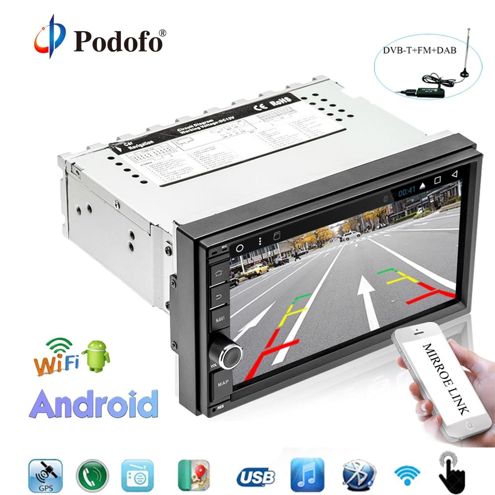 Podofo Авторадио android 1 Дин радио gps навигации WI-FI 7 Сенсорный экран DAB радио автомобиля + OBD Bluetooth зеркало ссылка авто радио