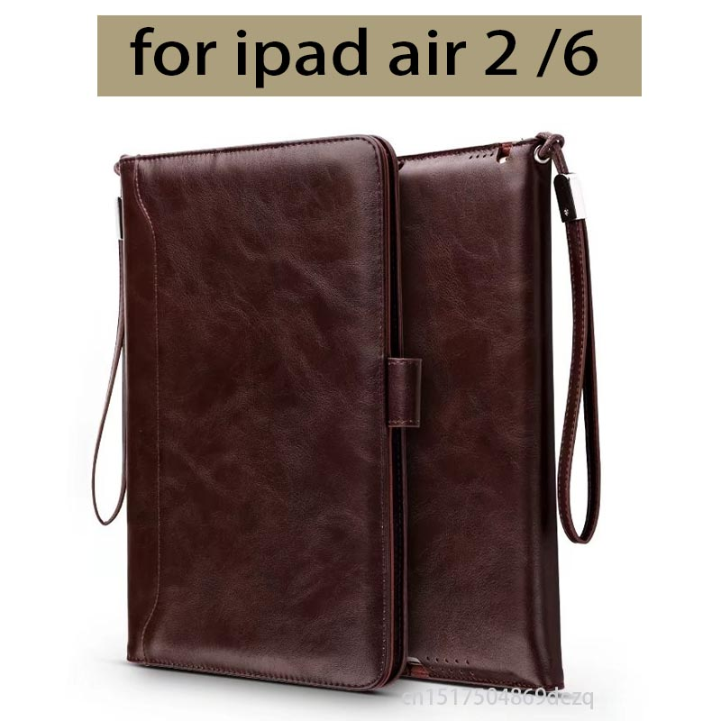 Cover funda for Apple iPad air 2 retina Case tablet soft PU leather hand holder strap business book case for iPad 6 +Stylus 2017 silicon slim soft tablet case for ipad air 1 rubble protective funda cover for apple ipad air 1 2 for ipad 5 6 case capa
