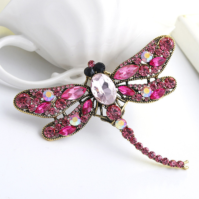 31fd83382 Vintage Design Shiny Rhinestone Dragonfly Brooch Scarf Dress Gown Beautiful  Brooch Pins Jewelry Accessories