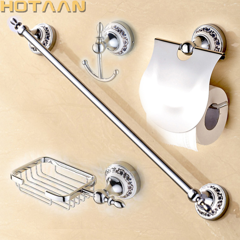 Free shipping Stainless Steel ceramic Bathroom Accessories Set Robe hook Paper Holder Towel Bar Soap basket