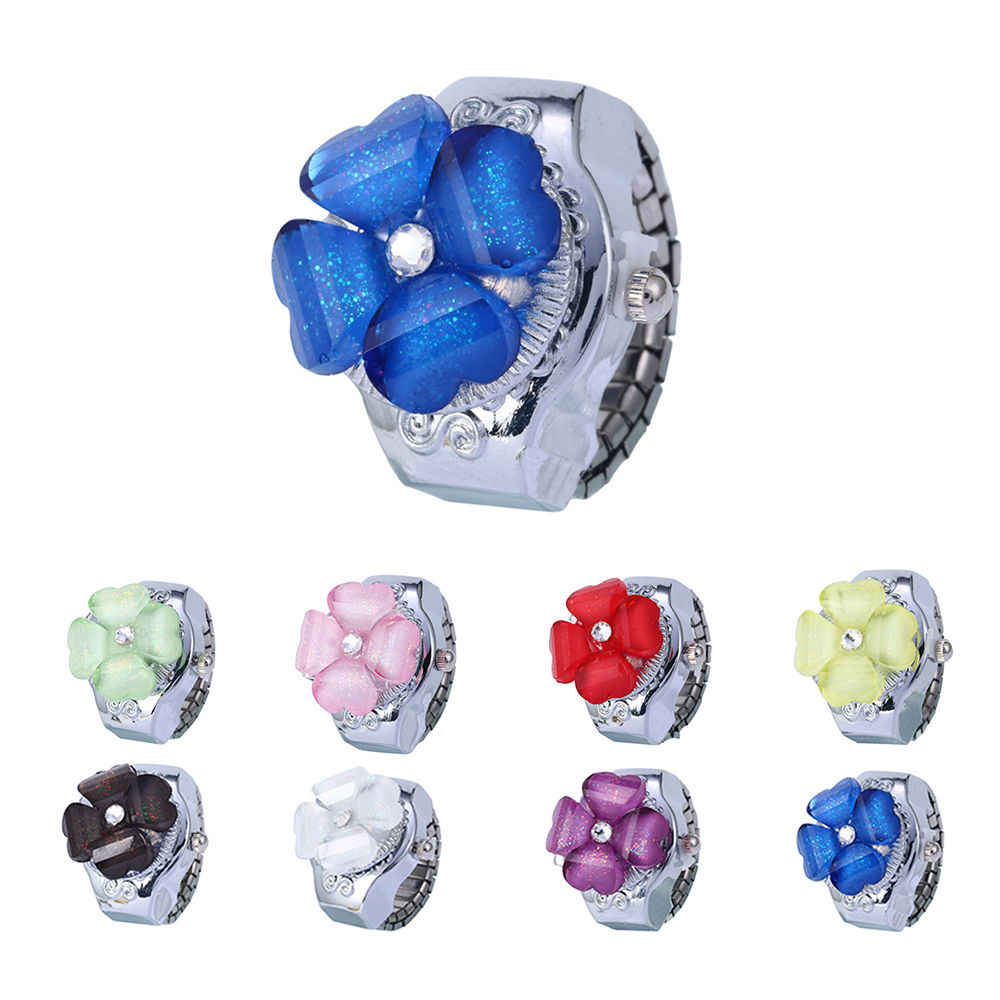 Panie kobiety mody zegarek kwarcowy błyszczące wielobarwne kwiaty wzór ekskluzywny pierścień zegarek