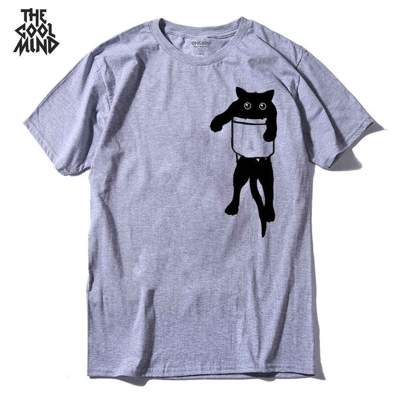 COOLMIND QI0232A 100% cotton loose style cat printed men t shirt casual short sleeve o-neck funny mens tshirt tops tees