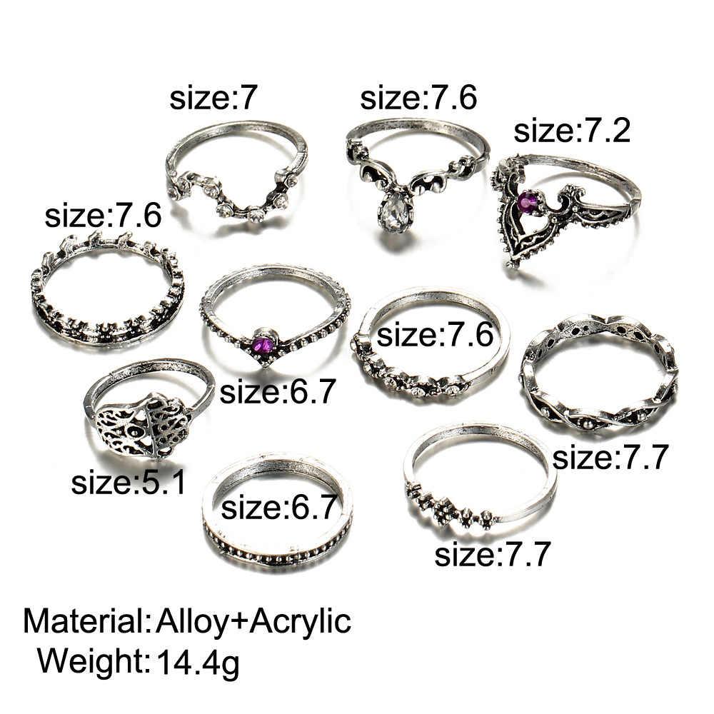 Модные Винтажные кольца 10 шт./компл. женские богемные Фатимы ручная Корона полые кавидные геометрические шарнирные кольца для суставов палец 2R078