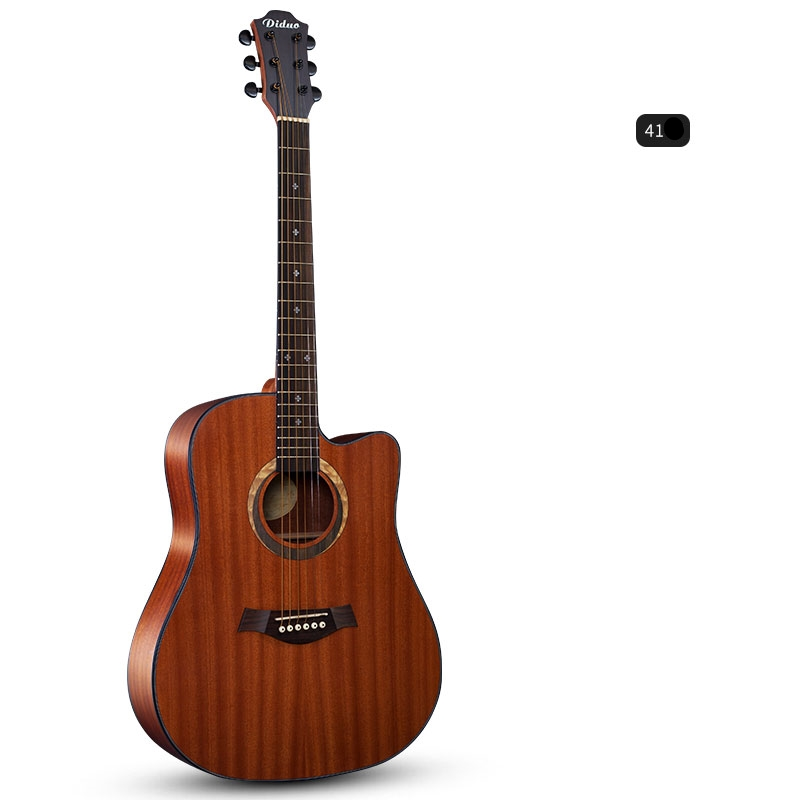 Diduo 40 41'' Acoustic Guitar Sapele Mahogany Cutaway Rounded Corner Closed Knob Acoustic Wood Guitar DK155 42 inch sapele veneer wood guitar veneer acoustic guitar technique of lacquer bake dumb light suitable for teaching performance