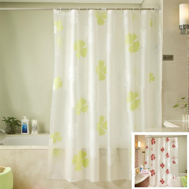 New Eco Friendly PEVA Shower Curtains Red Flower Printed Matte
