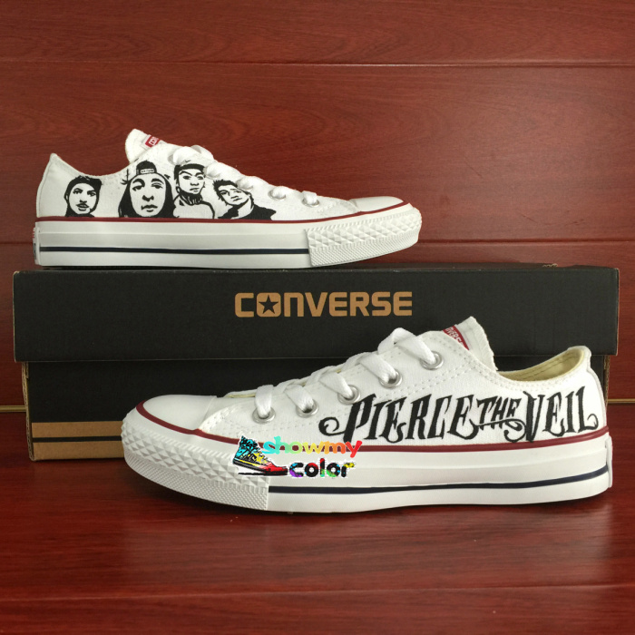 Low Top White Converse All Star Pierce The Veil Design Custom Hand Painted Shoes Woman Man Sneakers Men Women Birthday Gifts sneakers men women converse all star anime fairy tail galaxy design custom hand painted shoes man woman christmas gifts