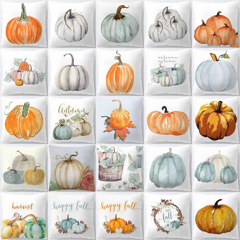 ZENGIA Halloween Thanksgiving Pumpkin Cushion Cover Polyester Farmhouse Decor Pillow Case Home Decor Sofa Car Kussenhoes Cojines