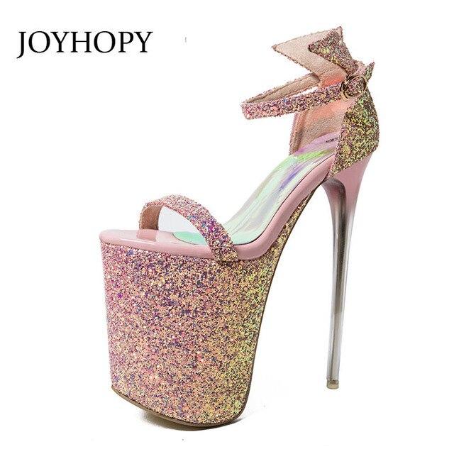 3ef523cce Sexy Super High Heels Sandals Women 20cm Heel Ankle Strap Sandals Fashion  Nightclub Platform Shoes Woman Pumps Plus Size 34- 43