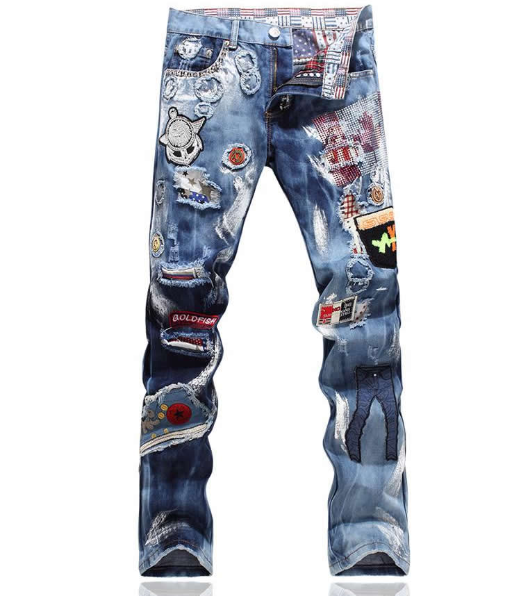 New  Arrival Cartoon Appliques Men Jeans Fashion Cutout Denim Trousers hot sale new arrival men cutout jeans fashion embroidery pencil trousers