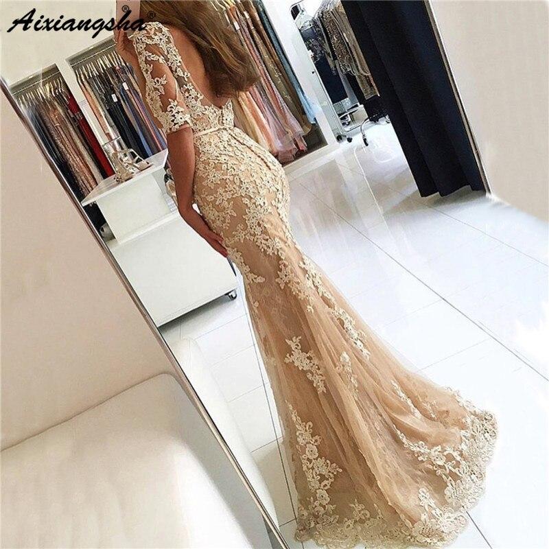 New Evening Dress 2019 Lace Mermaid Sexy Dubai Long Half Sleeves Evening Gown Applique Floor Length robe de soiree
