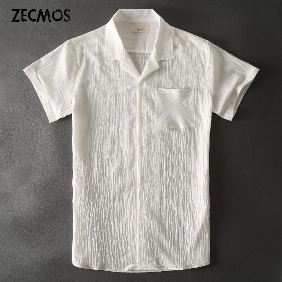 Zecmos Hawaii fehér alkalmi ingek Férfi vászon rövid ujjú ing Férfi blúz