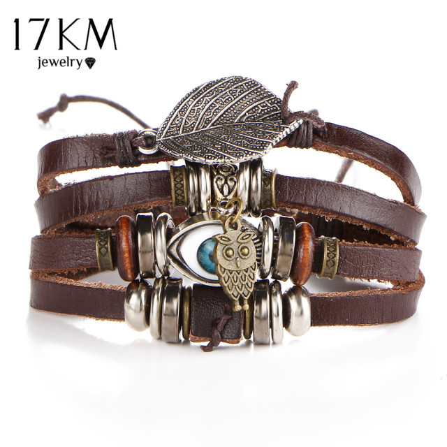 17KM Punk Design Turkish Eye Bracelets For Men Woman New Fashion Wristband Female Owl Leather Bracelet Stone Vintage Jewelry 1