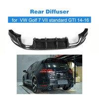 Carbon Fiber / FRP Car Rear Bumper Diffuser Lip Spoiler For Volkswagen VW Golf 7 VII Standard And GTI 2014 2017 4 Exhaust Tips