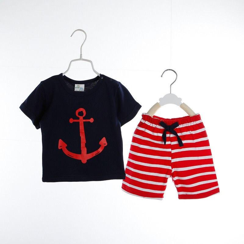 Подарок летняя одежда для малышей Дети мальчик милый футболки Мода Полосатый Брюки для девочек 2 шт. комплект праздник Повседневная одежда