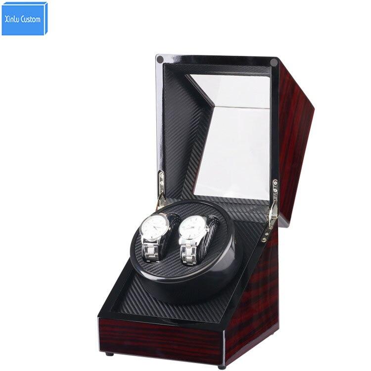 Лак пианино глянцевая деревянная черная углеродная волокно двойной валик для часов коробка тихий мотор часы коробка для хранения с окошком
