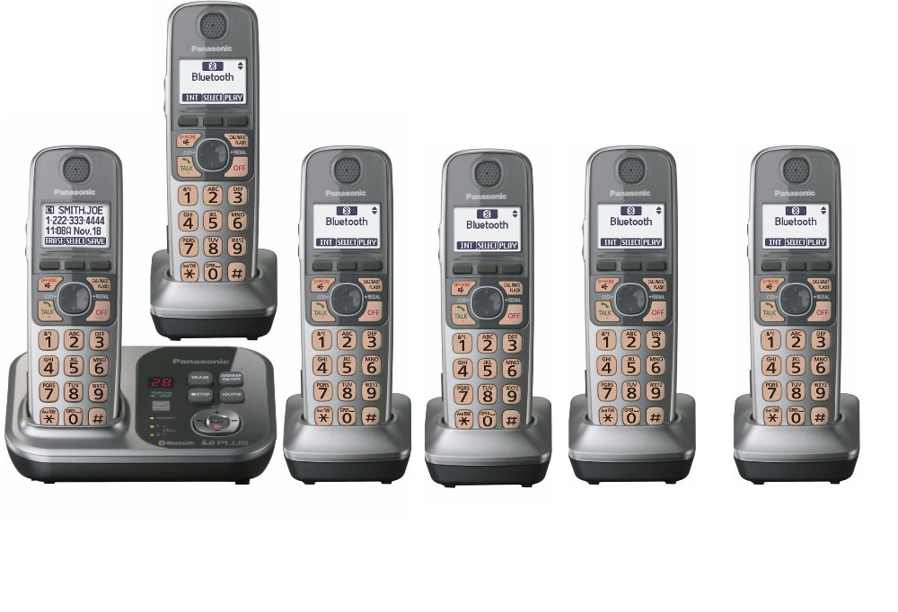 6 Handsets KX-TG7731 1.9 GHz Digital wireless phone DECT 6.0 Link to Cell via Bluetooth Cordless Phone with Answering system