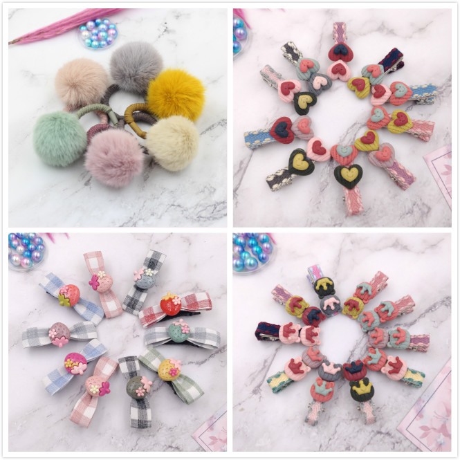10pcs/lot New girl children cute cartoon hairpins princess candy color sweet hair clips hairwear Hair Accessories