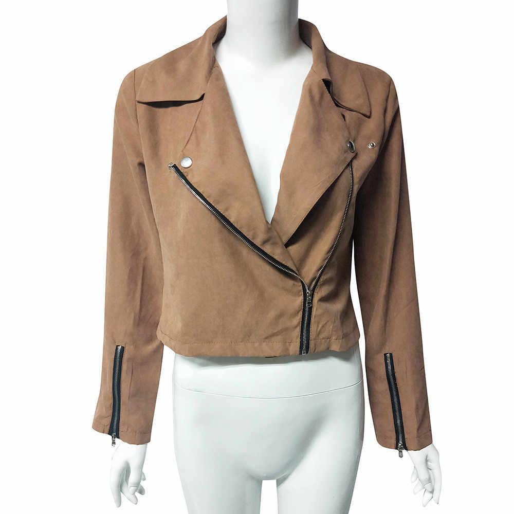a4b09f084b5 ... 2018 charming women jacket Ladies Retro Rivet Zipper Up Bomber Jacket  Casual jaqueta feminina high quality ...