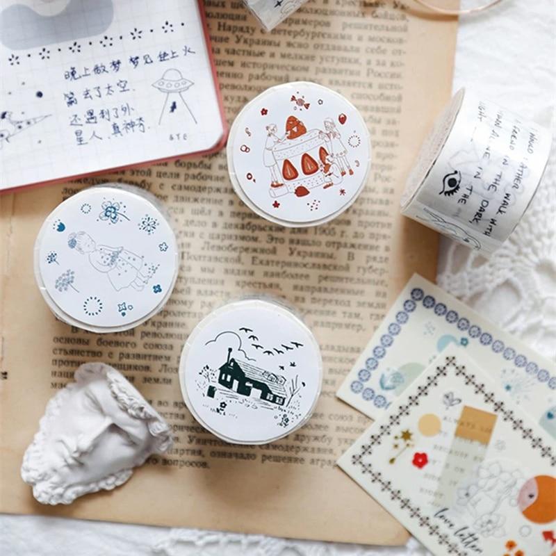 30mm*5m Japanese Cartoon Manga Masking Washi Tape Creative Kawaii Diy Journal Decorative Adhesive Tape Cute Stationery Supplies