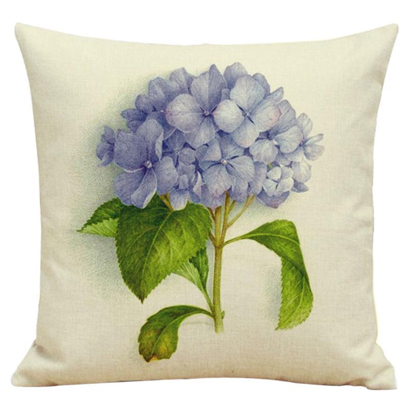 Ouneed 2017 Home Office Hotel Car Use Fresh Flowers Flax Cushion Cover Throw Waist Pillow Sofa Home Decor Square 45cm*45cm
