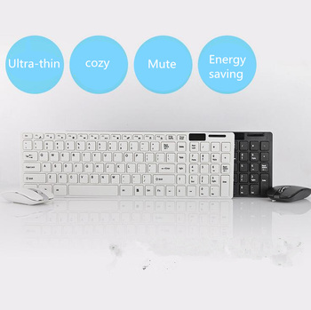 Wireless 2.4G  Ultra Thin  USB Receiver Desktop Keyboard and Mouse Combo  for  Desktop Notebook PC