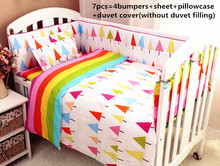 Discount! 6/7pcs Baby Bedding Set Baby Bed Bumper Cot Sheets Kit Crib Bedding Cotton ,120*60/120*70cm