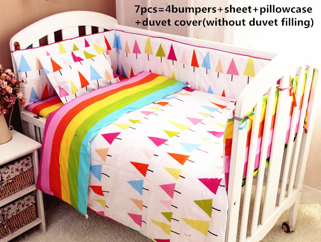 Discount 6/7pcs Cot Baby Bedding Set Baby Bed Bumper Infant Cot Sheets Kit Crib Bedding Cotton ,120*60/120*70cm