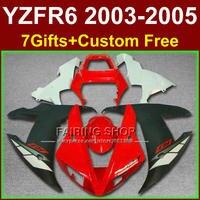 Применимость частей тела для YAMAHA Обтекатели YZF R6 2003 2004 2005 ABS красный чернобелый обтекатель комплект r6 03 04 05 + 7 подарки K7FR